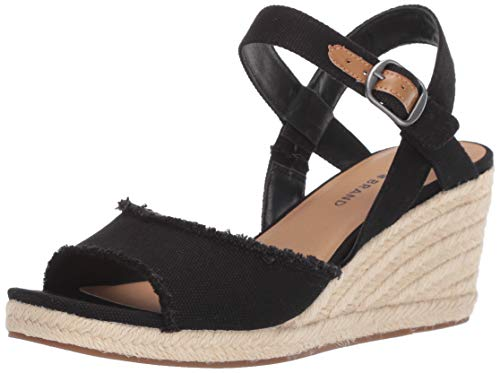 Lucky Brand Women's MINDRA Espadrille Wedge Sandal, Black, 7 M US