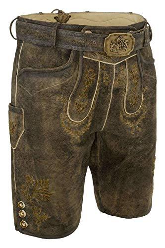 Hammerschmid Herren Lederhose braun grüne Stickerei mit Gürtel kurz, 60-BRAUN, 52