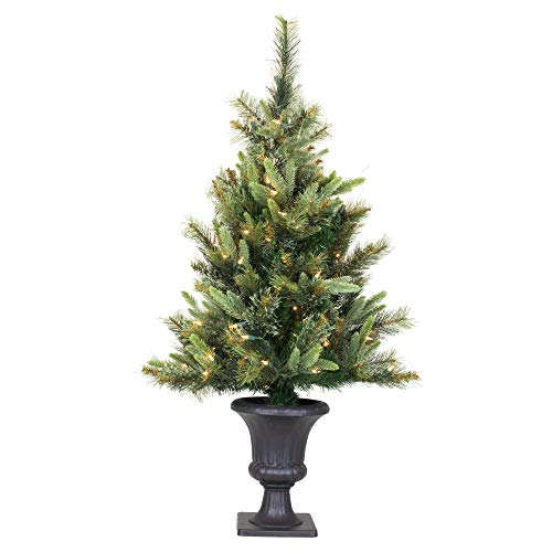 Vickerman Pre-Lit Cashmere Pine Tree with 100 Warm White LED Lights and Brown Plastic Pot, 3.5-Feet, Green