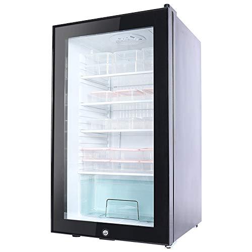 HWG Mini-Gefrierschrank Kühlschrank Mit Glastür Mini-Kühlschrank Minibar Kunststoffsteckbare LED Innenbeleuchtung Für Kleine Haushalte,Black-C