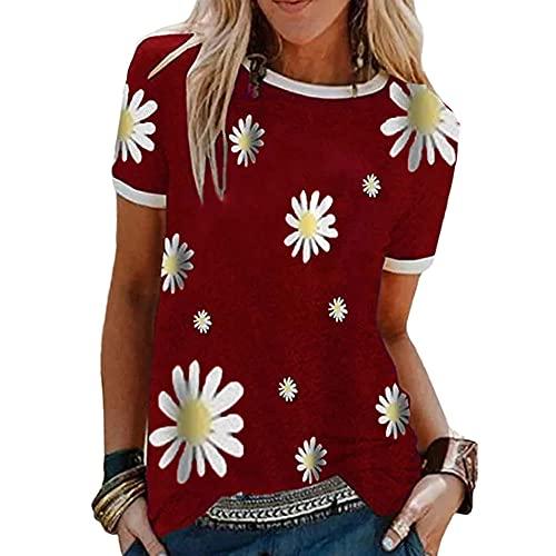 Blusa Mujer Básica Cuello Redondo Pequeño Patrón De Margaritas Imprimir Empalme Mujer Camisa Casual Clásico Moda Retro Personalidad Elasticidad Simplicidad Mujer Tops E-Red XXL
