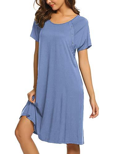 Ekouaer 3 in 1 Delivery/Labor/Nursing Nightgown Women's Maternity Hospital Gown/Sleepwear for Breastfeeding(Lavender,M)