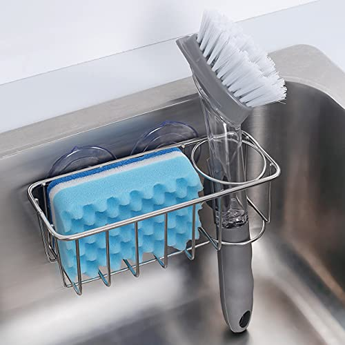 Sink Caddy Sponge Holder + Brush Holder 2 in 1 with Upgraded Suction Cups or Using Adhesive Hooks, SUS304 Stainless Steel