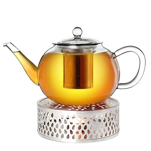 Creano Teekanne aus Glas 1,2l + EIN Stövchen aus Edelstahl, 3-teilige Glasteekanne mit integriertem Edelstahl Sieb und Glasdeckel, ideal zur Zubereitung von losen Tees, tropffrei