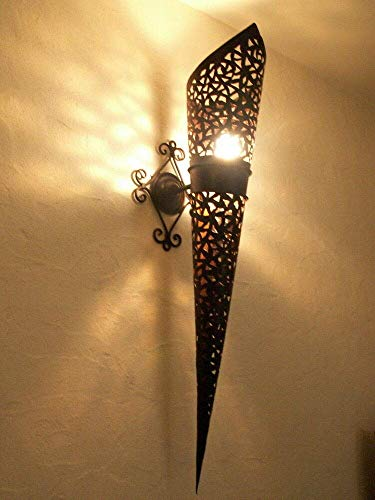 Wand- Wand Fackel Schmiedeeisen Marokkanisch 80 cm Lampe Laterne Kronleuchter