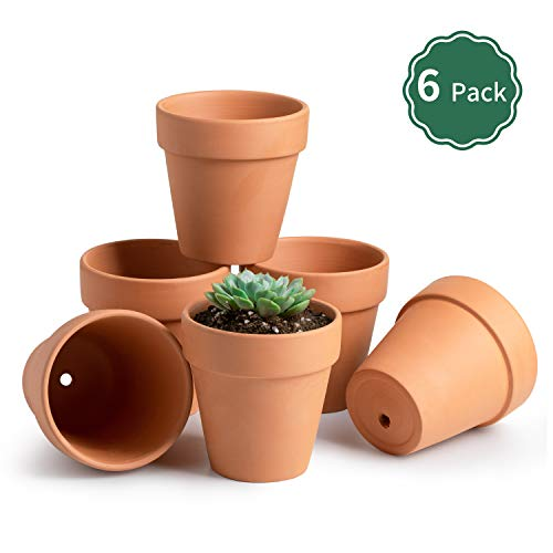 "POTEY Terracotta Flower Pot Clay Planter - 4.1"" with Drain Hole for Succulent Cactus - Set of 6"