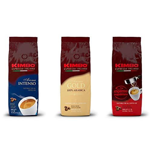 Kimbo ganze Kaffeebohnen Set mit 1 x Gold 100% Arabica, 1 x Espresso Napoletano und 1 x Aroma Intenso, drei 500g Beutel