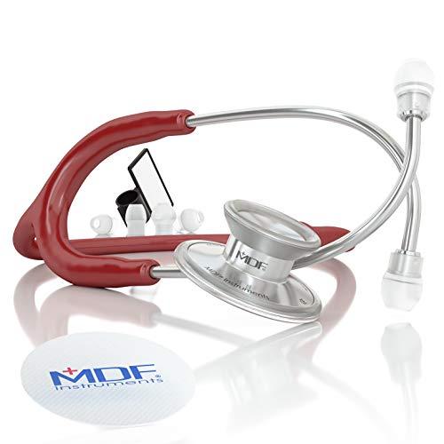 MDF® Instruments MDF747XP-17 Acoustica® Deluxe, Estetoscopio ligero de doble cabeza - Garantía-de-por-vida & Programa-piezas-gratuitas-de-por-vida (Borgoña)