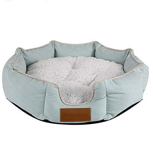Smoro rundes achteckiges Katzenbett für Katzen und Welpen, warmes Hundebett - maschinenwaschbares, weiches Plüschbett