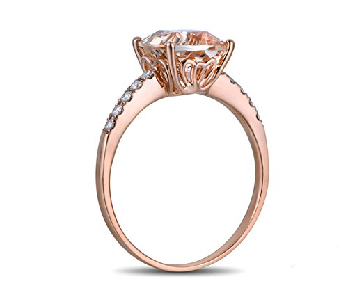 Aimsie Damen Ring 18 Karat 750 Gold Platz 2,45ct Morganit Damenring Verlobungsring 0,15ct Diamant Ring Eheringe Solitär Größe 56 (17.8)