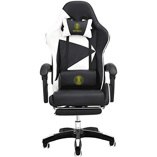 YISUNF Chair Computer Chair E-Sport Corsa Sedia da Ufficio poggiapiedi Regolabile Supporto Lombare Poggiatesta for Il Gioco di Lavoro (Colore: Nero, Dimensione: 65X65X120CM)