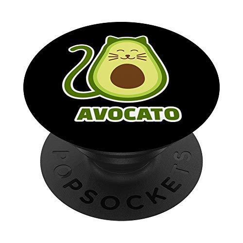 Avocado Katze Avocato PopSockets PopGrip: Ausziehbarer Sockel und Griff für Handys/Tablets mit Tauschbarem Top
