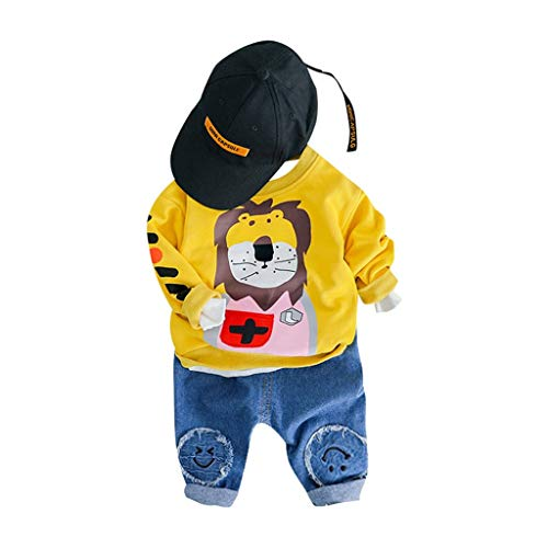 Dasongff meisjes jongens kleding set kinderen herfst winter tops lange mouwen mantel broek comfortabele trainingspak outfits set 80/8 geel