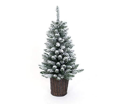 Evergreen Weihnachtsbaum 90 cm künstlicher Tannenbaum inkl Beleuchtung und Kunstschnee Christbaum Adventsdeko