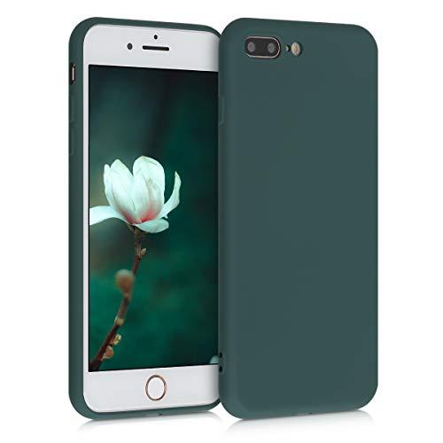 kwmobile Cover Compatibile con Apple iPhone 7 Plus / 8 Plus - Custodia in Silicone Effetto Gommato - Back Case Protezione Cellulare - Verde Muschio