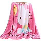 FSKY Throw Blanket Hello Kitty Blankets Cartoon Printing Cover Flannel Super Soft Plush Beach Sherpa for Adults Boys Girls Kids Toddler Baby Children 40'X55' (Pink)