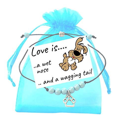 Dog Puppy Adjustable Aqua Miracle Bead Bracelet with Paw Print Charm, Small Verse Card and Gift Bag - Friendship Wish Bracelet for Special Occasion or Birthday