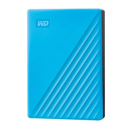 WD My Passport disco duro portátil 4TB con protección con contraseña y software de copia de seguridad automática, Azul, Compatible con PC, Xbox y PS4