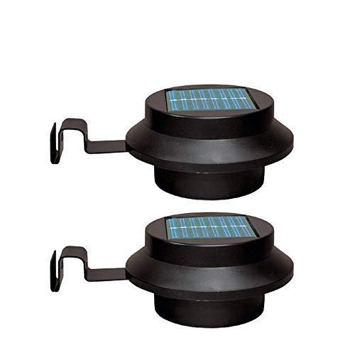 VOVOVO Solarleuchte für Außen, Außenrinne Sicherheitsleuchte Solarleuchten Außenleuchte mit Paneel Black Shell Zaun Wandleuchte Gartenwand Lobby Weg Lampe Cooles Licht Packung mit 2 Stück