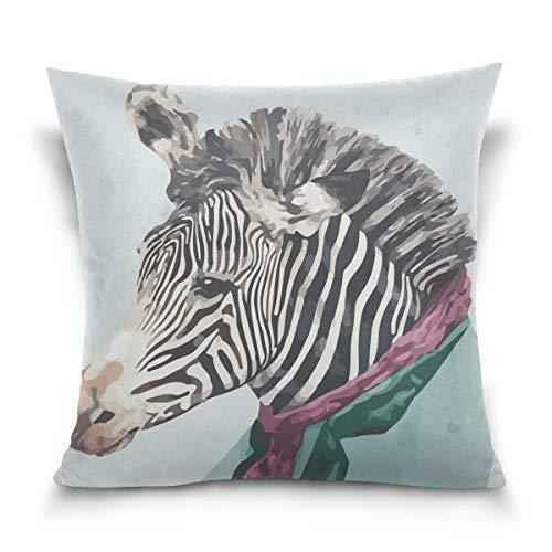 Chic Houses La moda de cebra acuarela pintura con cremallera almohada protector de almohada interesante animal patrón caballero cojín cubierta para sofá cama 2030034
