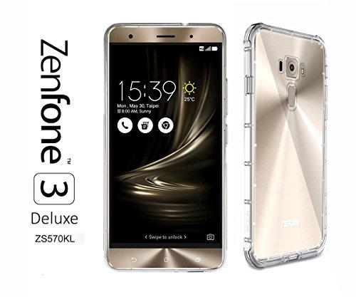 IBROZ ASUS Zenfone 3Deluxe (zs570kl)–Carcasa Funda Premium–Silicona Transparente–Air Cushion Corners (Semi rígida–Impacto absorción)
