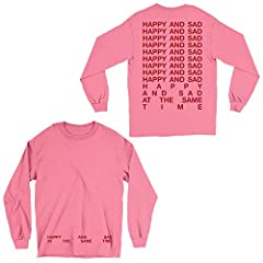 Unisex Comfort Colors garment dyed long-sleeve tee featuring the Happy & Sad design. Due to the nature of garment dyed products, color may vary slightly.