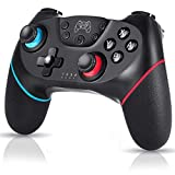 Manette sans Fil pour Nintendo Switch, Bluetooth Manette Switch Pro, Prend en Charge Gyro Axis, Turbo et Dual Vibration et Compatible avec Switch Lite (Noir Foncé)