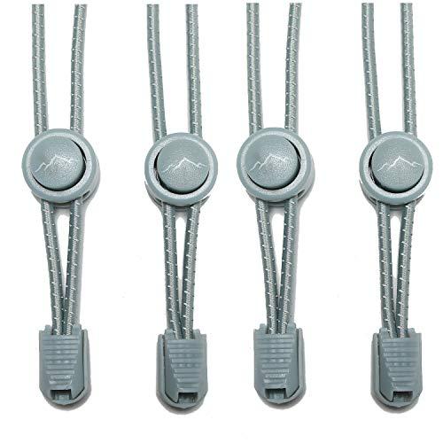 gipfelsport Elastische Schnürsenkel mit Schnellverschluss - Gummi Schnellschnürsystem ohne Binden | Schnürsystem für Kinder, Herren, Damen I 2X Paar: grau/grau