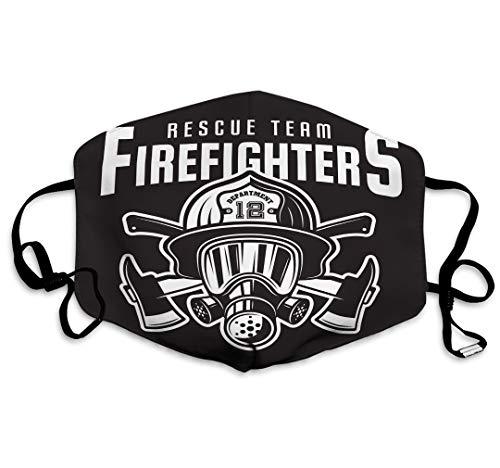 sdfwerweq Winddichte staubdichte waschbare Wiederverwendbare Mundmaske Feuerwehr Emblem Print Feuerwehr Emblem Label Print Feuerwehrmann Kopf Helm Zwei