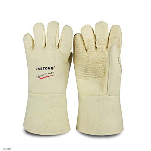 TUNBG Hochtemperaturhandschuhe Industrieofen 500°C Blockheizung 34/45CM Anti-Burn Long Handschuhe,1Pair,34CM