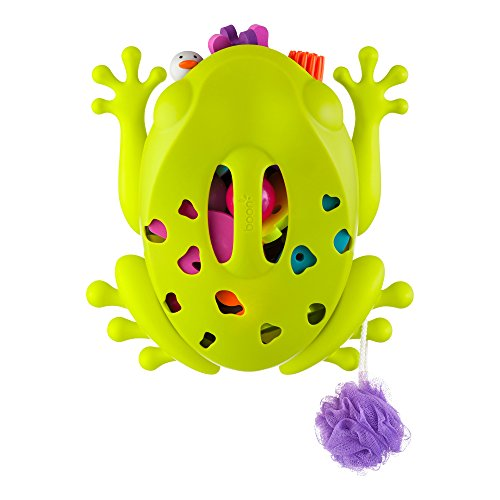 image of the TOMY Boon Frog Pod Bath Toy Storage Organiser with a breakdown of features and benefits