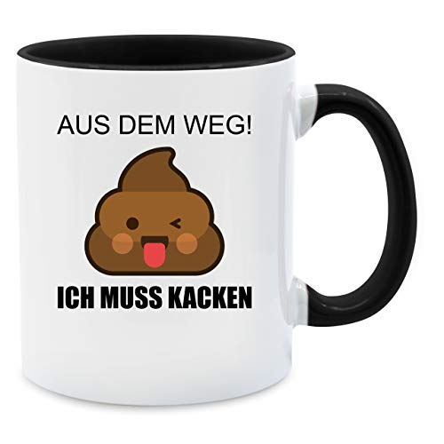 Statement Tasse - Emoticon - Aus dem Weg! Ich muss kacken - Unisize - Schwarz - tassen lustig - Q9061 - Tasse für Kaffee oder Tee