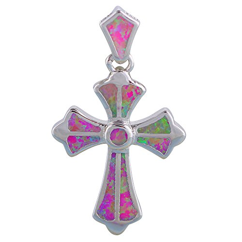 Abalorio de plata con sello rosa fuego Opal colgante salud moda joyas ops698