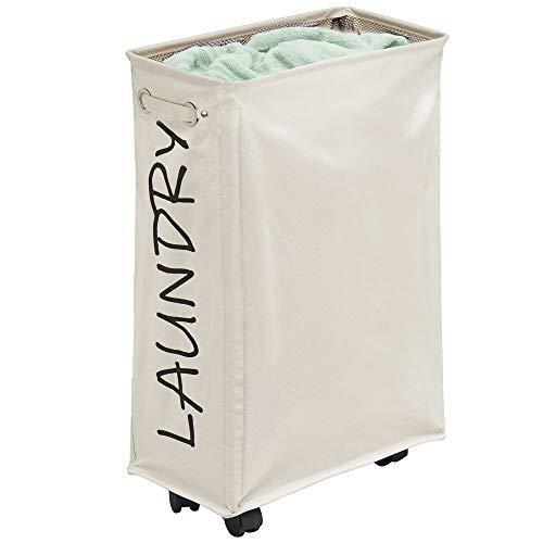 mDesign Cesta para ropa sucia con ruedas – Cesto de ropa plegable hecho de poliéster y plástico – Canasto para ropa portátil con cordón y moderna impresión – crema y negro