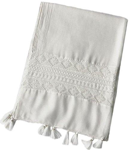 Leisial Eleganz Pur Weiß Baumwollschal Schal Herbst-Schal Strand Schal Weiß 180 * 70Cm