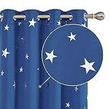 Deconovo Lot de 2 Rideaux Occultants Thermique Rideaux Motif Etoile Argenté à oeillet 117x138cm Bleu Marine