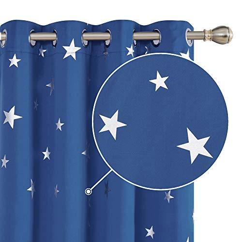 Deconovo Cortinas Opacas con Aislamiento Térmico para Sala de Estar Oficina Hotel Ventanas Infantiles Estrella Plateada 117 x 229 cm Azul Oscuro
