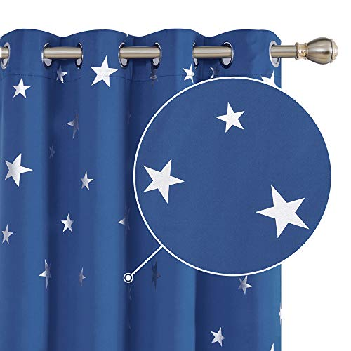 Deconovo Cortina Opaca para Ventana Dormitorio Juvenil para Habitacion Matrimonio Estilo Moderno Elegante Infantiles Estrella Plateada 117 x 138 cm Azul Oscuro