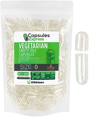 XPRS Nutra Size 0 Empty Capsules Clear Empty Vegan Capsules Capsules Express Vegetarian Empty product image
