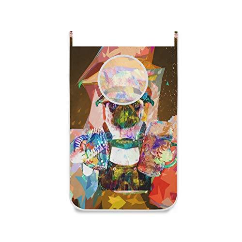 XiangHeFu Opvouwbare stoffen zak grote wasmand deurhangende karikatuur abstracte schattige hondenmand in huis