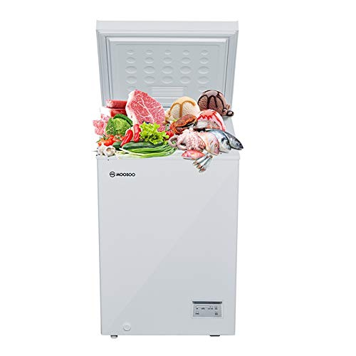 MOOSOO Chest Freezer 3.5 Cubic Feet with Removable Basket, Deep Compact Freezer for Garage/Kitchen/Basement/Dorm/Apartment, with Temperature Setting/Energy-saving/CSA Certified, White