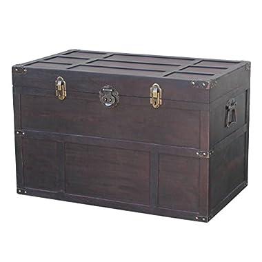 Vintiquewise Antique Style Wooden Steamer Trunk