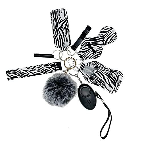 Llavero de alarma de bolsillo para mujer, llavero con alarma de pánico linterna multifunción llavero mujer 10 piezas (rayas negras y blanco)