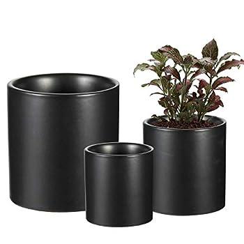 EHWINE Ceramic Pots for Plants  6 ,4.3 ,3.4   Plant Pots with Drainage Hole Indoor for Plants Flowers Succulents - Black