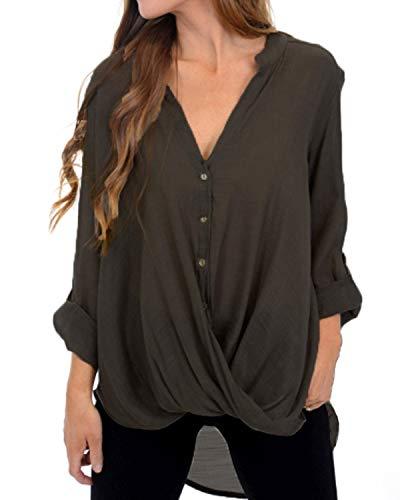 VONDA Bluse Damen Chiffon V-Ausschnitt Shirts Langarm Oberteile Elegant Lose Tops A-Kaffee 2XL