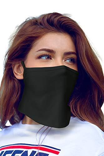 Bandanas Face Cover Mask Neck Gaiter Ear Loop Balaclava Made in USA -1-Layer_Ear_Black,One Size