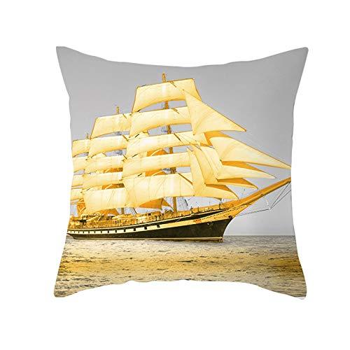 KnBoB Funda Cojin 50 x 50 cm Velero en el Mar Poliéster Gris Oro Estilo 30