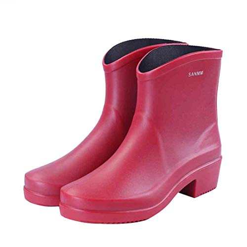 Unbekannt kiss me Damen Plateau-Stiefel Chelsea Stiefel, wasserdicht, Rot - rot - Größe: 37 EU