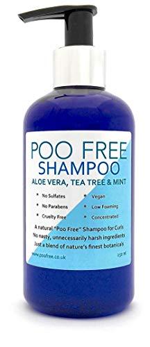 POO FREE NATÜRLICHES Shampoo - Mit Aloe Vera, TEEBAUM & Minze - 250 ml Sulfat, Ohne Silikon, Ohne Parabene. Konzentriert, Schaumarm, Leicht zu Spülen.