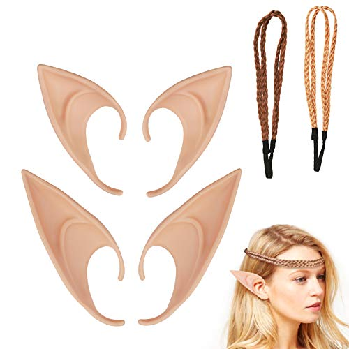 ZoomSky Elfenohren Set, 2 Paar Fantasy Latex Elf Ohren mit 2er Haarband Hobbit Spitzohren zum Aufstecken für Halloween Cosplay Karneval Party Fasching Kostüm